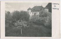 Ansitz STEINBURG in Aufhofen, Stadtgemeinde Bruneck. Gelatinesilberabzug 9x14cm; kein Impressum - postalisch gelaufen 1932.  Inv.-Nr. vu914gs00140