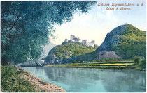 Burg SIGMUNDSKRON und die Etsch in Frangart, Gemeinde Eppan. Photochromdruck 9x14cm;  Impressum: Joh(ann). F(ilibert). Amonn, Bozen; postalisch gelaufen 1906.  Inv.-Nr. vu914pcd00164