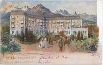 """Ehemaliges Hotel (heute Hotelfachschule) """"Kaiserhof"""", Habsburgerstraße (heute Freiheitsstraße) 155. Farbautotypie 9 x 14 cm nach Original von Artur Nikodem. Impressum: S. Pötzelberger, Meran um 1910.  Inv.Nr. vu914fat00027"""