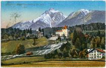 Burg Starkenberg mit Brauerei in Tarrenz mit Hinterer Platteinspitze (2.723m) in den Lechtaler Alpen. Photochromdruck 9 x 14 cm; P(urger?). & Co., München; postalisch gelaufen 1914.  Inv.-Nr. vu914pcd00181