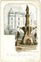 Rudolfsbrunnen am Bozner Platz in Innsbruck, Entwurf: Friedrich Schmidt, 1877 errichtet und  enthüllt 1877.  Chromolithographie 9x14cm; K(arl). Redlich, Innsbruck.  Inv.-Nr. vu914clg00020