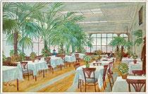 """Inneres der Glasveranda vom Hotel """"Greif"""" am Waltherplatz (Eingang Raingasse). Farbautotypie 9 x 14 cm nach einem Original von W. Volay um 1910.  Inv.-Nr. vu914fat00079"""