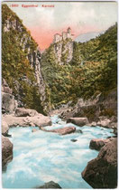 Burg KARNEID über dem Eggentaler Bach. Photochromdruck 9x14cm; Editon Photoglob, Zürich datiert 1911.  Inv.-Nr. vu914pcd00159