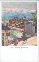 Ehemalige Kettenbrücke, Hungerburgbahn und Riesenrundgemälde. Farbrastertiefdruck 9 x 14 cm; Entwurf: Jos(ef). Demetz, Hall i.T., postalisch gelaufen 1943.  Inv.-Nr. vu914fat00026