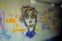 Graffiti in der Unterführung der Universitätsbrücke an der Franz-Gschnitzer-Promenade nächst Universitätshauptgebäude und -bibliothek. Farbdiapositiv 24x36 mm; (c) Johann G. Mairhofer 1997. Inv.-Nr. DC-135-AG-409.3-22