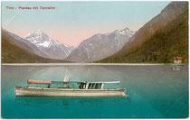 """Dampfboot """"Sabine II"""" (Jungfernfahrt Mai 1909) der Planseeschifffahrt. Photomontage, Photochromdruck 9 x 14 cm; Impressum: Carl Reiser, Garmisch; postalisch befördert 1910.  Inv.-Nr. vu914pcd00149"""