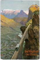 Die Virglbahn bei Bozen, in Betrieb gewesen von 1907 bis 1957. Farbautotypie 9 x 14 cm nach einem Original von Albert Stolz (1875 - 1947); Impressum: Verlag Joh(ann). F(ilibert) Amonn,  Bozen 1908.  Inv.-Nr. vu914fat00015