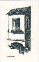 Erker der Burg RODENECK. Holzschnitt 9 x 14 cm; Anonymus/-a, datiert 1960.  Inv.-Nr. vu914hs00001