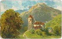 Burg Freundsberg von Norden. Chromolithographie 9 x 14 cm; Entwurf: anonymer Künstler; postalisch befördert 1906.  Inv.-Nr. vu914clg00006
