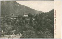 Forsthaus in Pinegg, Gemeinde Brandenberg, Bezirk Kufstein, Tirol um 1905. Lichtdruck 9 x 14 cm; Impressum: Verlag S. Rupprechter in Aschau, Gemeinde Brandenberg, Bezirk Kufstein, Tirol.  Inv.-Nr. vu914ld00059
