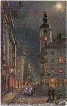 Das neue Bozner Rathaus von 1907 am Rathausplatz Ecke Weintraubengasse in Bozen. Farbautotypie 9 x 14 cm nach Original eines Anonymus. Impressum: Raphael Tuck & Sons, London.  Inv.-Nr. vu914fat00031