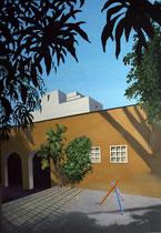 Pinacoteca mit Blick auf Telmex-Gebäude   2014, 180 x 130 cm  (Privatbesitz, Düsseldorf)