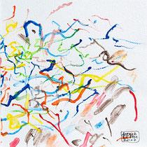 """""""Jour de vent"""" Aquarelle sur papier Hahnemülle 12cmx12cm"""
