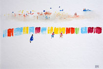 """""""Plage"""" Aquarelle sur papier Hahnemülle 36cmx24cm"""