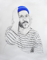 Self Portrait Series (with Papy's Blue Knit Cap) #2, Graphite and Oil on Paper, 24 x 18 inches, 2014