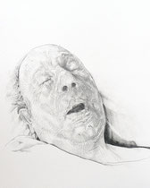 Papy #1 (Last Sickness), Graphite on Paper, 24 x 18 inches, 2012