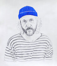 Self Portrait Series (with Papy's Blue Knit Cap) #1, Graphite and Oil on Paper, 24 x 18 inches, 2014