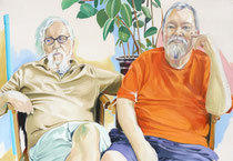 Tom & Billy (Portrait of Tom Schnepf & Billy Hertz), Oil on Canvas, 28 x 40 inches, 2015