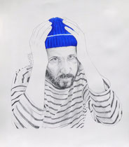 Self Portrait Series (with Papy's Blue Knit Cap) #3, Graphite and Oil on Paper, 24 x 18 inches, 2014
