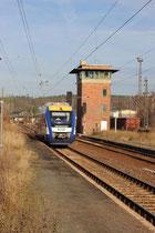 HEX VT 872 aus Halberstadt erreicht Blankenburg auf Gleis 1, 17.12.2013