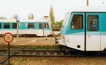 Triebwagen 628 in Blankenburg für die Verbindung nach Halberstadt 1999 (Aufnahme: Hartmut Weidemann, Berlin)