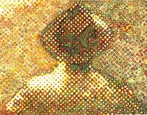 """""""Vater, wo ist dein Hut?"""" (Gelb - Grün - Weiß), 2009, Acryl und Tusche auf Papier (Tapete), 33,5 x 43 cm"""