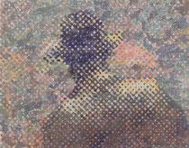 """""""Vater, wo ist dein Hut?"""" (Violett - Grau), 2009, Acryl und Tusche auf Papier (Tapete), 33,5 x 43,5 cm"""