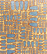 """System (4)"", 1995, Öl/Acryl auf Leinwand, 130 x 114 cm"