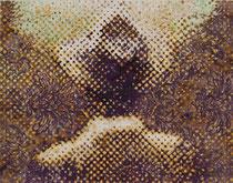 """""""Vater, wo ist dein Hut?"""" (Violett), 2009, Acryl und Tusche auf Papier (Tapete), 34,5 x 43,2 cm"""