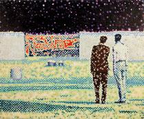"""""""Zwei Männer eine Öffnung in der Mauer betrachtend"""", 2012, Öl auf Leinwand, 130 x 160 cm"""