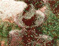 """""""Vater, wo ist dein Hut?"""" (Rot - Grün), 2009, Acryl und Tusche auf Papier (Tapete), 34,5 x 43,2 cm"""