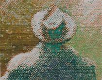 """""""Vater, wo ist dein Hut?"""" (Grün - Ocker), 2009, Acryl und Tusche auf Papier (Tapete), 33,5 x 43,5 cm"""