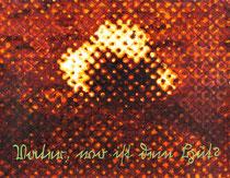 """""""Vater, wo ist dein Hut?"""" (Gelb - Orange - Violett), 2009, Acryl und Tusche auf Papier (Tapete), 33,5 x 43 cm"""