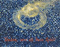 """""""Vater, wo ist dein Hut?"""" (Gelb - Blau), 2009, Acryl und Tusche auf Papier (Tapete), 34 x 43,5 cm"""
