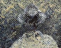 """""""Vater, wo ist dein Hut?"""" (Weiß - Gelb - Braun), 2009, Acryl und Tusche auf Papier (Tapete), 33,5 x 43 cm"""