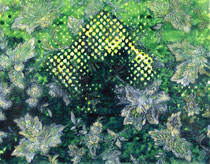 """""""Vater, wo ist dein Hut?"""" (Gelb - Grün), 2009, Acryl und Tusche auf Papier (Tapete), 33,5 x 43 cm"""