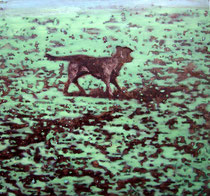 """Brown Dog"", 2007, Öl auf Leinwand, 70 x 75 cm"
