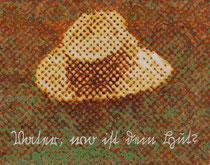 """""""Vater, wo ist dein Hut?"""" (Gelb - Orange - Grün), 2009, Acryl und Tusche auf Papier (Tapete), 33,8 x 43 cm"""