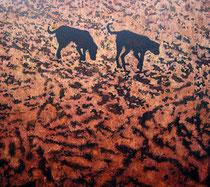"""""""Two Dogs"""", 2006, Öl auf Leinwand, 115 x 130 cm"""