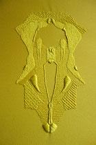 A l'ombre des papillons, (jaune), 2017, broderie sur coton, 40x50 cm