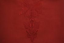 A l'ombre des papillons, (rouge), 2017, broderie sur coton, 40x50 cm. Collection particulière