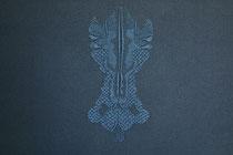 A l'ombre des papillons, (bleu), 2017, broderie sur coton, 40x50 cm