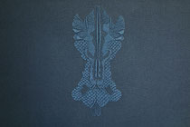A l'ombre des papillons, (bleu), 2017, broderie sur coton, 40x50 cm. Collection artothèque LaSécu Lille