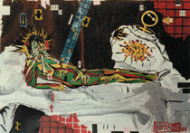 Olympia (Coverversion of Manet painting), 1987, 3 x 4m, emulsion paint on wrapping paper