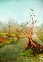 Paisaje fluvial con pájaros