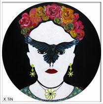 Frida et l'urubu (60cm), acrylique sur toile, 2013