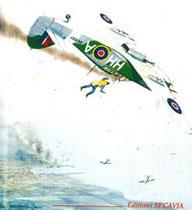 """Derek Leyland STEVENSON s'éjectant de son """"Hurricane"""" en feu, au-dessus de la rade de Dieppe. Il sera récupéré par le Destroyer Polonais """"SLAZAK"""" (aquarelle de Peter Endsleigh-Castle)"""