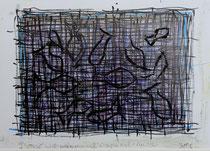 L´attesa (Warten), 2013, Ölkreide, Acrylfarbstifte und Acryl auf Papier, 18,5 x 26,5 cm