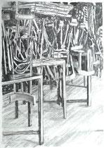 Ausgangssperre Corona 2, Zeichnung Kohle auf Papier, 84x59cm, 2020