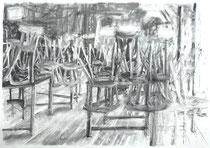 Ausgangssperre Corona 1, Zeichnung Kohle auf Papier, 59x84cm, 2020